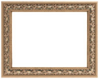 Rectangular gold carved frame isolated Royalty Free Stock Image