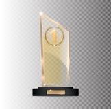 Rectangular gold glass award winner 1st place winning on a gray background. EPS 10 Stock Images