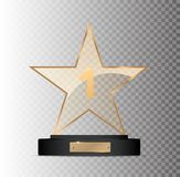 Rectangular gold glass award winner 1st place winning on a gray background. EPS 10 Royalty Free Illustration