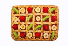 Rectangular handmade  tart with strawberry, kiwi, banana viewed Royalty Free Stock Images