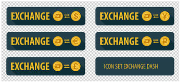 Rectangular horizontal buttons exchange cryptocurrency Dash Stock Image