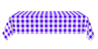Rectangular horizontal tablecloth with blue checkered pattern Stock Photos