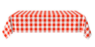 Rectangular horizontal tablecloth with red checkered pattern. Rectangular tablecloth with red checkered pattern isolated on white, horizontal front view, 3d Royalty Free Stock Images