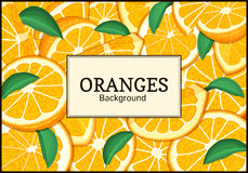 Rectangular label on citrus oranges fruits background. Vector card illustration. Tropical fresh juicy orange fruit frame peeled piece of half slice for design Royalty Free Stock Photo