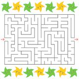 Rectangular labyrinth with cartoon stars on the sides. An interesting game for children. Simple flat vector illustration isolated. On white background Royalty Free Stock Images