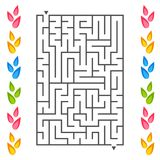 Rectangular labyrinth with petals of flowers on the sides. An interesting game for children. Simple flat vector illustration isola. Ted on white background Stock Image