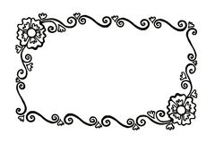 Rectangular decorative painted vector frame with flowers and cur Stock Photo