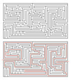 Rectangular maze of medium complexity on white and solution with red path Royalty Free Stock Photos