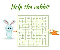 Rectangular maze riddle game, find way your path. Help the rabbit. Labyrinth rebus for kids vector illustration Stock Photos