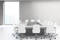 Rectangular meeting room, gray wood Royalty Free Stock Photo