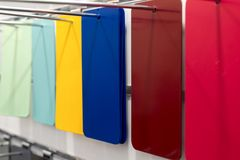 Rectangular metal plates, painted in various colors. Stock Photography