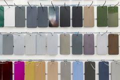 Rectangular metal plates, painted in various colors. Royalty Free Stock Images