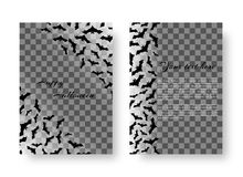 Rectangular notepad with bats. Scary Halloween Greeting Card Design with bats for festive decoration on a transparent backdrop. Vector illustration Stock Photos