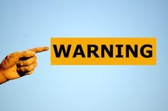 Rectangular orange label WARNING Royalty Free Stock Photos