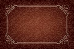 Rectangular ornate frame on dark brown background. Seamless pattern, vignette corners. For invitations, advertisements, labels, page decoration. The swatch is royalty free illustration