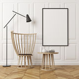 Rectangular pattern room, armchair and poster Royalty Free Stock Image