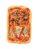 Rectangular pizza. Topped with blue cheese and tuna Stock Photo