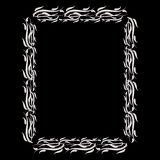 Rectangular plant frame shiny silver color. The lush, ornate on a dark background. Royalty Free Stock Photography