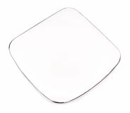 Rectangular plate with silver On white background Royalty Free Stock Photos