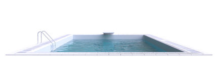 Rectangular pool with water. 3d illustration Royalty Free Stock Photo