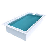Rectangular pool with water. Royalty Free Stock Photography