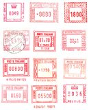 Rectangular postage stamps. Red and rectangular postage stamps Stock Photography