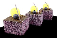 Rectangular purple textured fruit dessert with blueberries and lemon jelly royalty free stock image