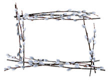 Rectangular pussywillow frame. Rectangle border of willow branches lined up Stock Photo