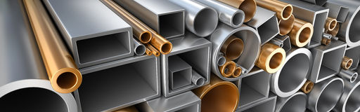 Rectangular, round and square Tube and pipe made of steel and copper. Rectangular, round and square Tube and pipe, Industrial 3d illustration Stock Photography