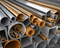 Rectangular, round and square Tube and pipe made of steel and copper Stock Images