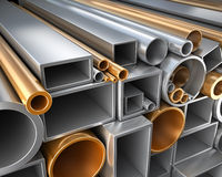 Rectangular, round and square Tube and pipe made of steel and copper. Rectangular, round and square Tube and pipe, Industrial 3d illustration Royalty Free Stock Images
