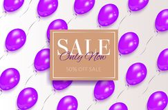 Rectangular sale banner design, purple balloons Royalty Free Stock Images