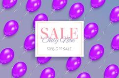 Rectangular sale banner design, purple balloons. Sale banner design with shiny purple balloons flying diagonally and rectangular frame, vector illustration. Sale Stock Images