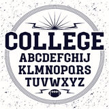 Rectangular serif font  in the style of college. Black font  composition  on white background Stock Images