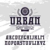 Rectangular serif font in urban style Royalty Free Stock Photography
