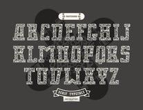 Rectangular serif font in urban style with graffiti texture Stock Photos
