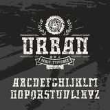 Rectangular serif font in urban style with shabby texture Royalty Free Stock Photography