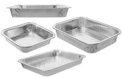 The rectangular shape of the foil for food. Aluminium utensils f Stock Images