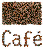 A rectangular shape with the word Cafe created with coffee beans Stock Photography