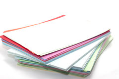 Rectangular sheets of colored paper Stock Image