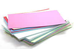Rectangular sheets of colored paper Stock Images