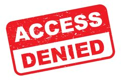 """Access denied. Rectangular sign board with text """"access denied"""" in white and red grunge letters respectively, white background Royalty Free Stock Photo"""