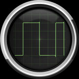 Rectangular signal on the oscilloscope screen in green tones. Rectangular (digital) signal on the oscilloscope screen in green tones, background Royalty Free Stock Image