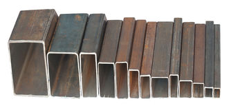 Rectangular steel pipes Royalty Free Stock Photo