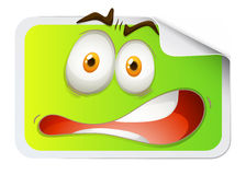 Rectangular sticker with scared face Stock Photography