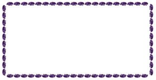 The rectangular strip of violet natural Amethyst crystals on white background royalty free stock image