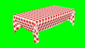 Rectangular tablecloth with red checkered pattern stock video footage