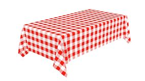 Rectangular tablecloth with red checkered pattern stock video