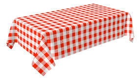 Rectangular tablecloth with red checkered pattern Stock Photography