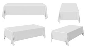 Rectangular tablecloth set. White rectangular tablecloth set isolated on white, 3d illustration Stock Photography